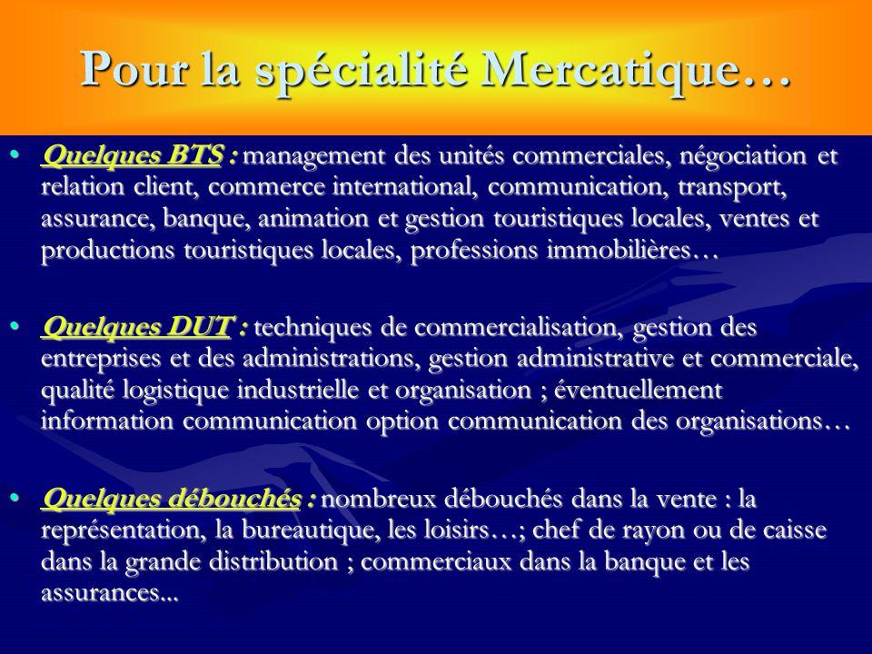 Pour la spécialité Mercatique… Quelques BTS : management des unités commerciales, négociation et relation client, commerce international, communicatio
