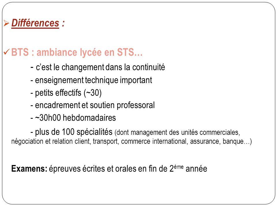  Différences : BTS : ambiance lycée en STS… - c'est le changement dans la continuité - enseignement technique important - petits effectifs (~30) - en