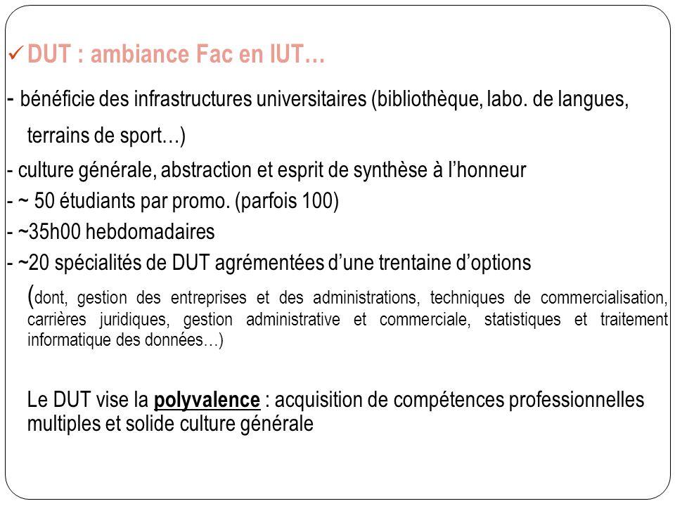 DUT : ambiance Fac en IUT… - bénéficie des infrastructures universitaires (bibliothèque, labo. de langues, terrains de sport…) - culture générale, abs