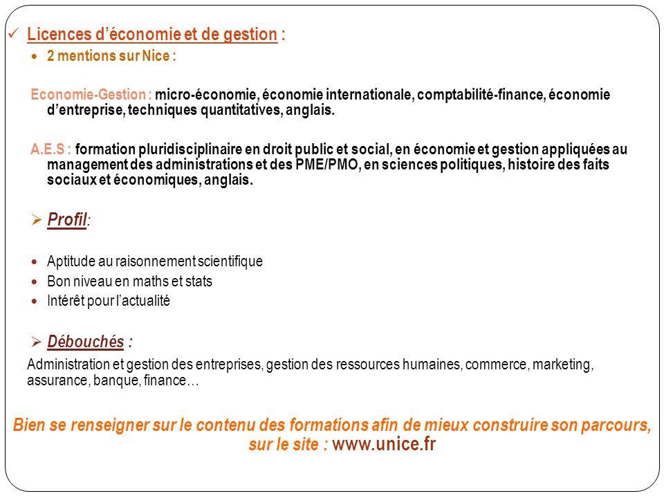 Licences d'économie et de gestion : 2 mentions sur Nice : Economie-Gestion : micro-économie, économie internationale, comptabilité-finance, économie d