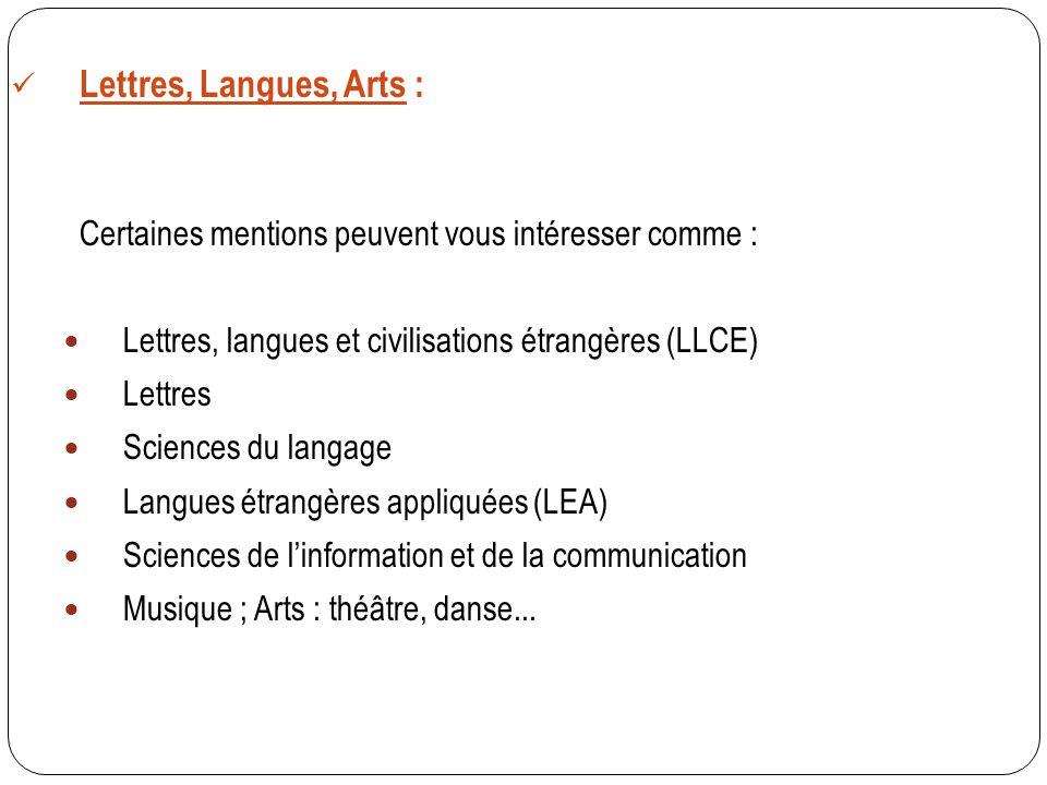 Lettres, Langues, Arts : Certaines mentions peuvent vous intéresser comme : Lettres, langues et civilisations étrangères (LLCE) Lettres Sciences du la