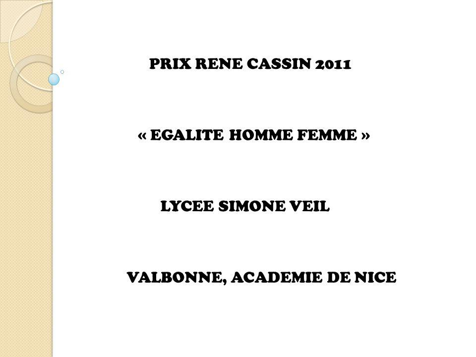 PRIX RENE CASSIN 2011 « EGALITE HOMME FEMME » LYCEE SIMONE VEIL VALBONNE, ACADEMIE DE NICE