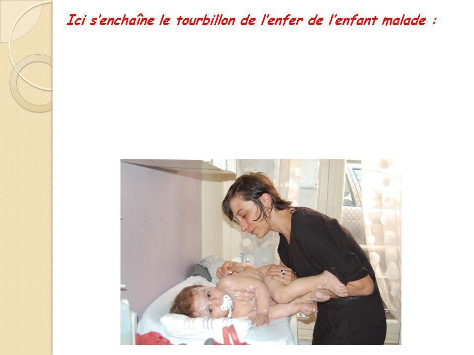 Ici s'enchaîne le tourbillon de l'enfer de l'enfant malade : - Chez le médecin : longue attente - E- Enfant qui pleure - Passage à la Pharmacie - Reto