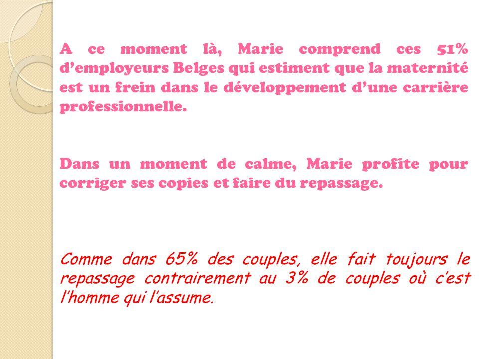 A ce moment là, Marie comprend ces 51% d'employeurs Belges qui estiment que la maternité est un frein dans le développement d'une carrière professionn
