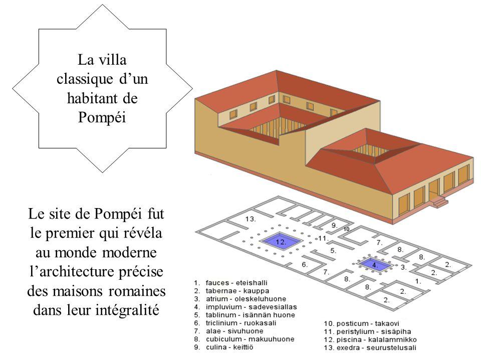 La villa classique d'un habitant de Pompéi Le site de Pompéi fut le premier qui révéla au monde moderne l'architecture précise des maisons romaines da