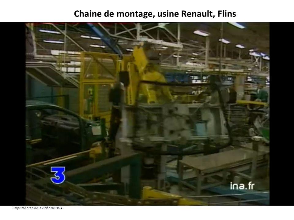 Chaine de montage, usine Renault, Flins Imprimé cran de la vidéo de l'INA