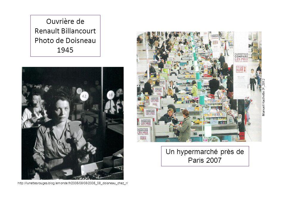 Ouvrière de Renault Billancourt Photo de Doisneau 1945 Un hypermarché près de Paris 2007 http://lunettesrouges.blog.lemonde.fr/2005/08/08/2005_08_doisneau_chez_r/ Manuel Hachette 3 e, 2012