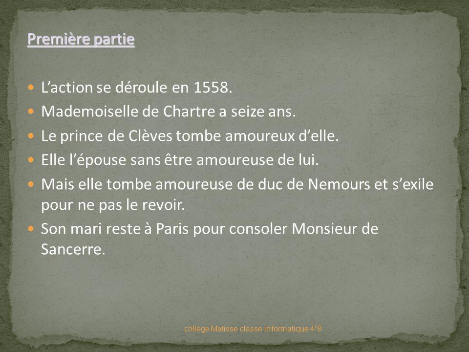 A) La Princesse de Clèves Livre publié en Mai 1678. Le nom de l'auteur n'apparaîtra qu'en 1780. Livre composé de quatre parties. collège Matisse class