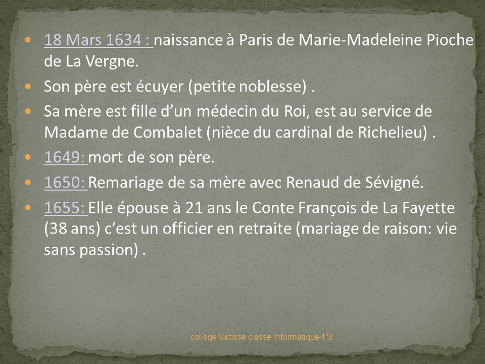 Marie-Madeleine de Lafayette collège Matisse classe informatique 4°8