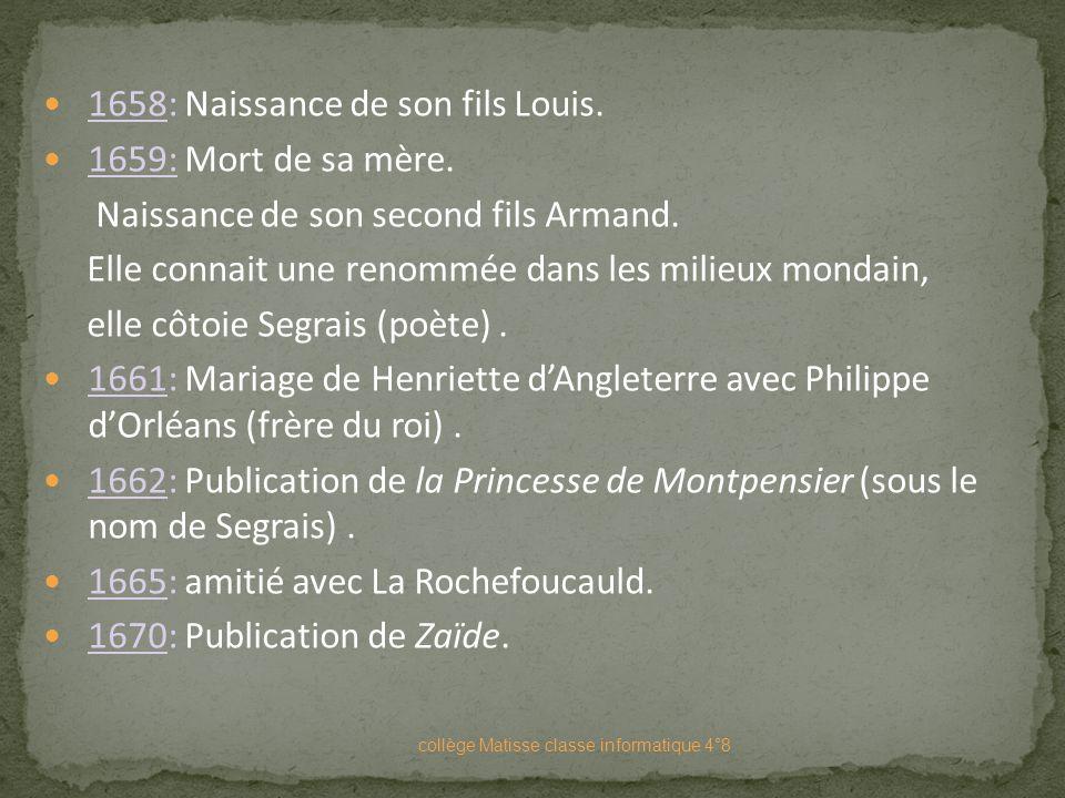 18 Mars 1634 : naissance à Paris de Marie-Madeleine Pioche de La Vergne. Son père est écuyer (petite noblesse). Sa mère est fille d'un médecin du Roi,