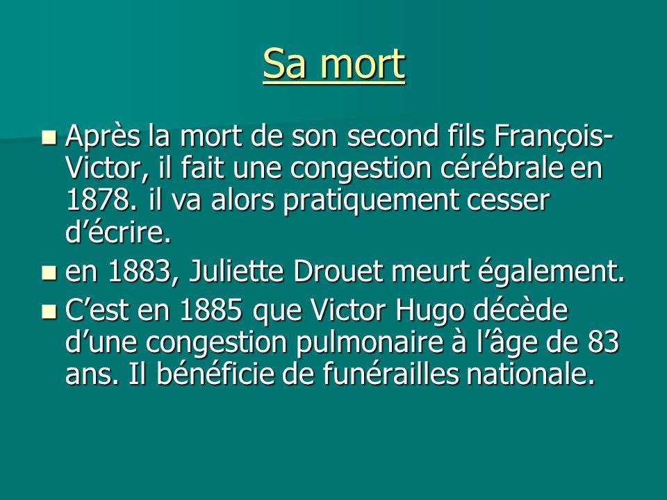 Sa mort Après la mort de son second fils François- Victor, il fait une congestion cérébrale en 1878. il va alors pratiquement cesser d'écrire. Après l