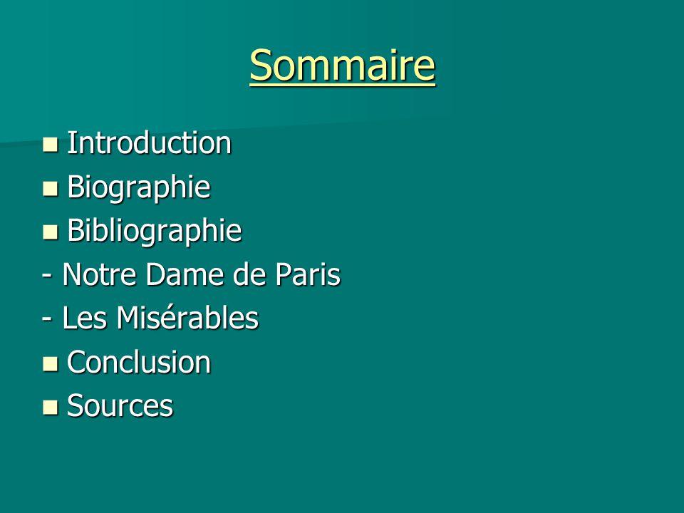Sommaire Introduction Introduction Biographie Biographie Bibliographie Bibliographie - Notre Dame de Paris - Les Misérables Conclusion Conclusion Sour