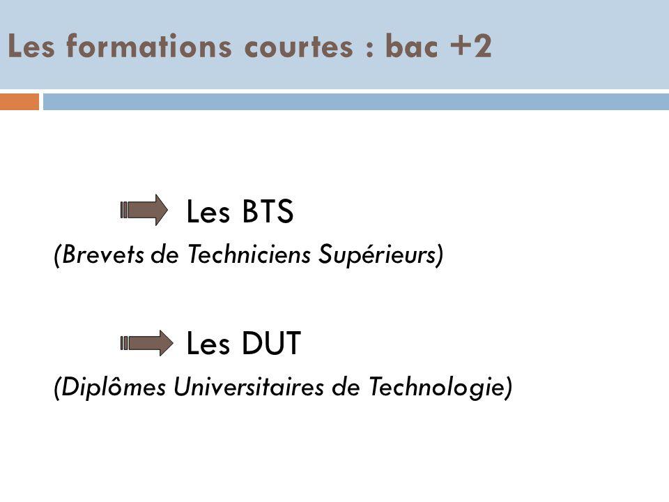 Les formations courtes : bac +2 Les BTS (Brevets de Techniciens Supérieurs) Les DUT (Diplômes Universitaires de Technologie)