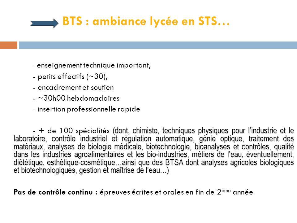 BTS/DUT : « des faux jumeaux » Points communs :  Même durée d'études (2ans)  Conçus à l'origine pour une insertion professionnelle immédiate  Forma