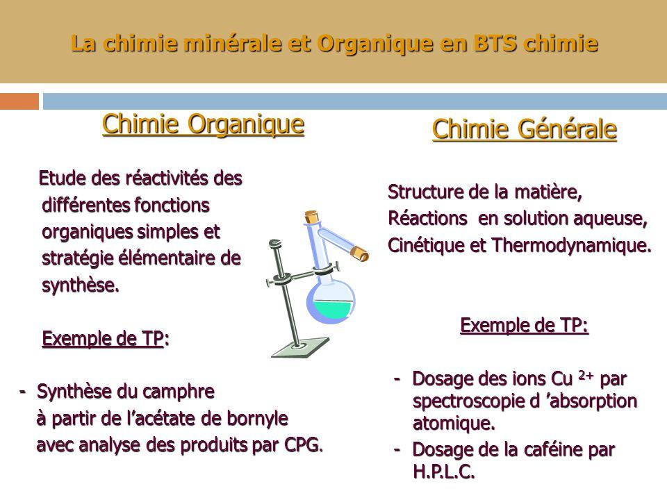 La chimie minérale et Organique en BTS chimie Chimie Organique Chimie Organique Etude des réactivités des Etude des réactivités des différentes fonctions différentes fonctions organiques simples et organiques simples et stratégie élémentaire de stratégie élémentaire de synthèse.
