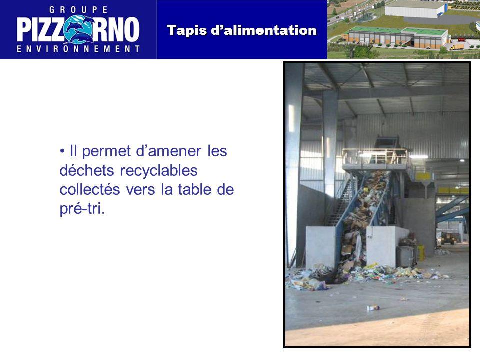 Tapis d'alimentation Il permet d'amener les déchets recyclables collectés vers la table de pré-tri.