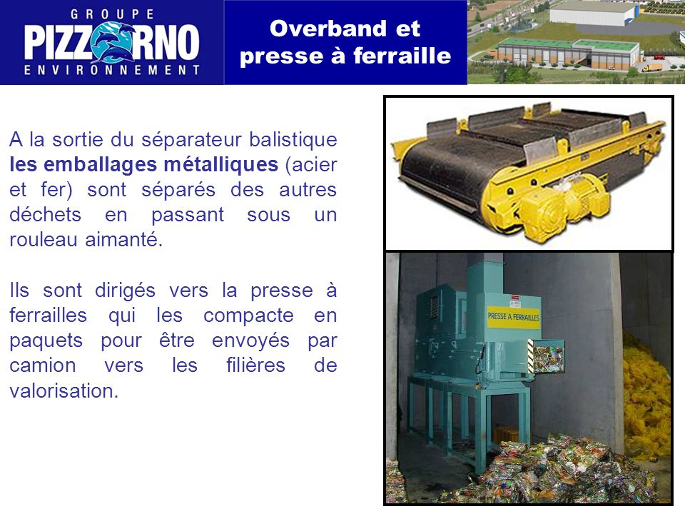 Overband et presse à ferraille A la sortie du séparateur balistique les emballages métalliques (acier et fer) sont séparés des autres déchets en passant sous un rouleau aimanté.