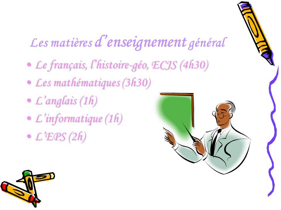 Les matières d'enseignement général Le français, l'histoire-géo, ECJS (4h30)Le français, l'histoire-géo, ECJS (4h30) Les mathématiques (3h30)Les mathé