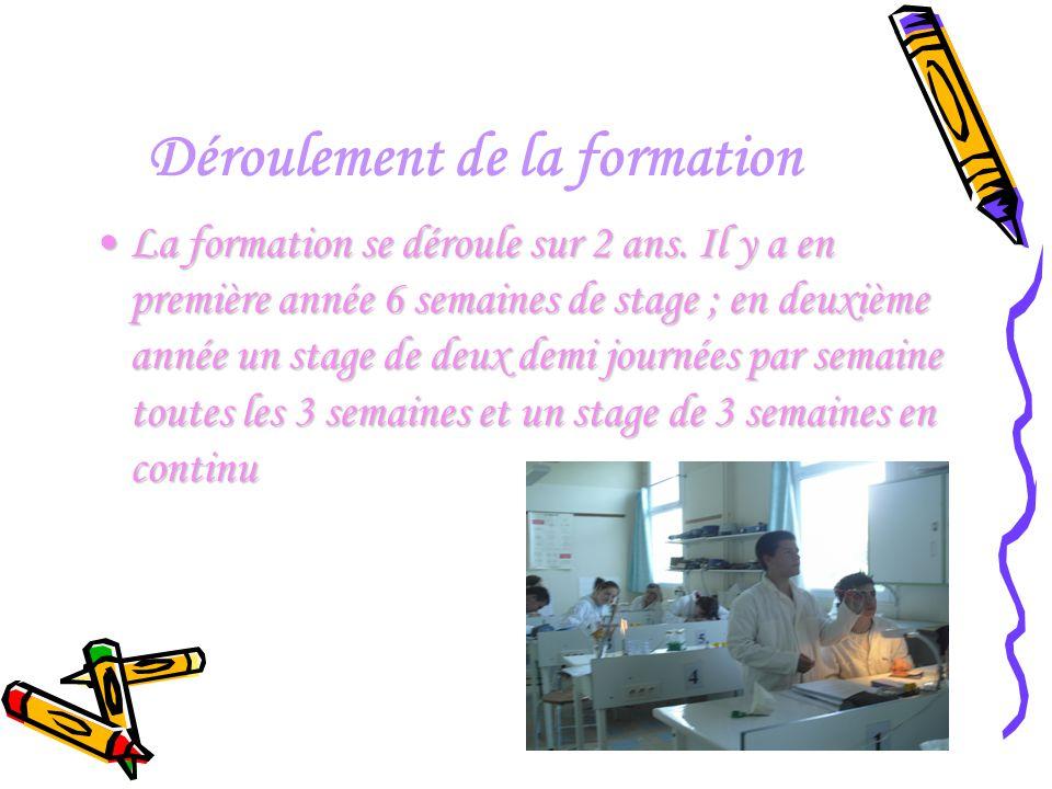 Déroulement de la formation La formation se déroule sur 2 ans. Il y a en première année 6 semaines de stage ; en deuxième année un stage de deux demi