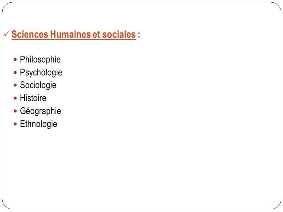 Sciences Humaines et sociales : Philosophie Psychologie Sociologie Histoire Géographie Ethnologie