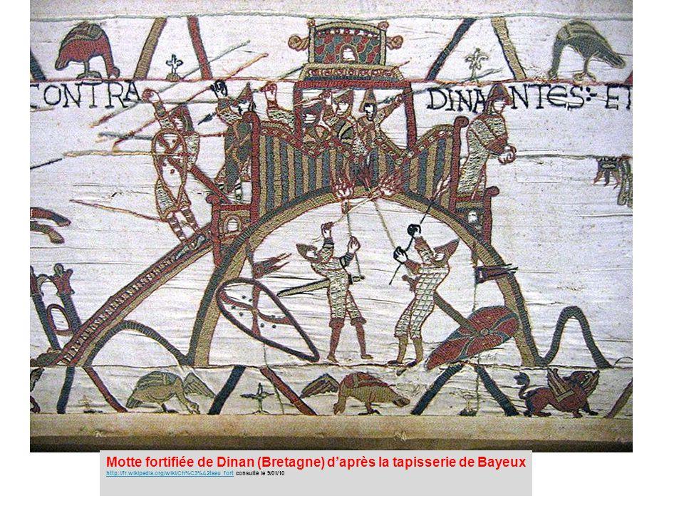 Motte fortifiée de Dinan (Bretagne) d'après la tapisserie de Bayeux http://fr.wikipedia.org/wiki/Ch%C3%A2teau_forthttp://fr.wikipedia.org/wiki/Ch%C3%A2teau_fort consulté le 9/01/10