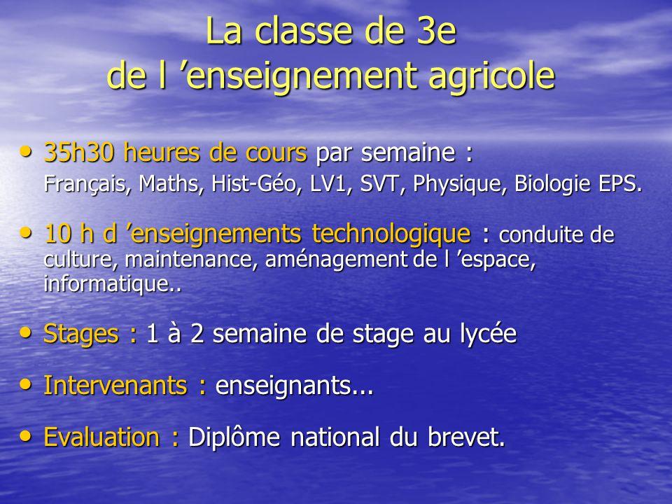 La classe de 3e de l 'enseignement agricole 35h30 heures de cours par semaine : 35h30 heures de cours par semaine : Français, Maths, Hist-Géo, LV1, SV