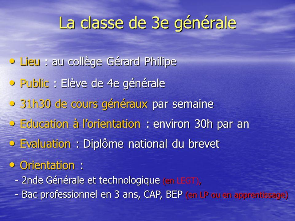 La classe de 3e générale Lieu : au collège Gérard Philipe Lieu : au collège Gérard Philipe Public : Elève de 4e générale Public : Elève de 4e générale