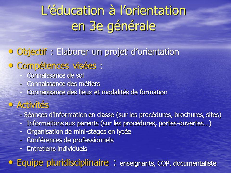 L'éducation à l'orientation en 3e générale Objectif : Elaborer un projet d'orientation Objectif : Elaborer un projet d'orientation Compétences visées