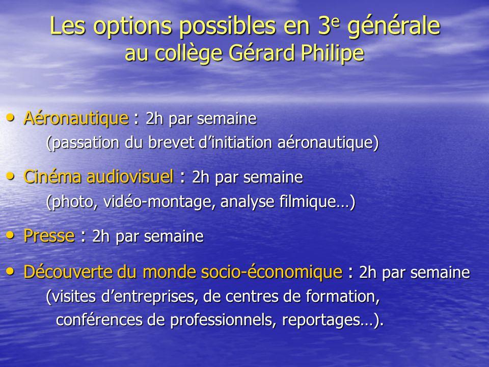 Les options possibles en 3 e générale au collège Gérard Philipe Aéronautique : 2h par semaine Aéronautique : 2h par semaine (passation du brevet d'ini