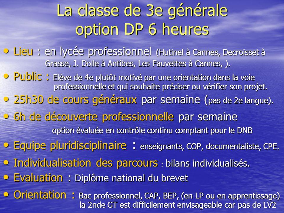 La classe de 3e générale option DP 6 heures Lieu : en lycée professionnel (Hutinel à Cannes, Decroisset à Lieu : en lycée professionnel (Hutinel à Can
