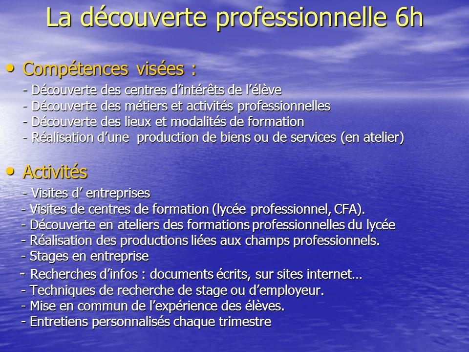 La découverte professionnelle 6h Compétences visées : Compétences visées : - Découverte des centres d'intérêts de l'élève - Découverte des métiers et