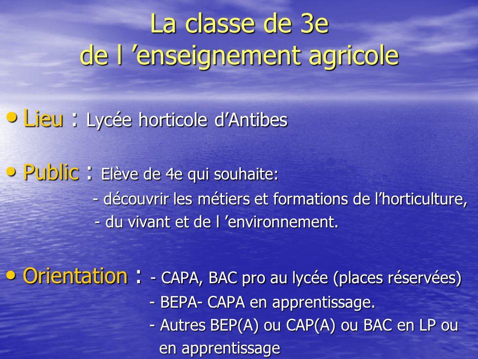La classe de 3e de l 'enseignement agricole L ieu : Lycée horticole d'Antibes L ieu : Lycée horticole d'Antibes Public : Elève de 4e qui souhaite: Pub