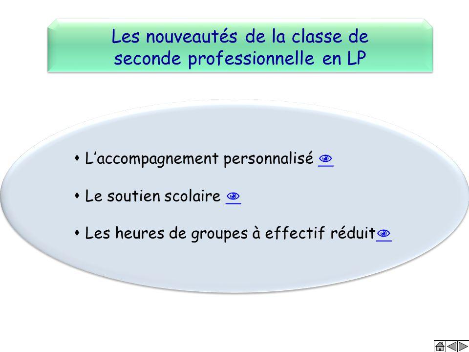Les nouveautés de la classe de seconde professionnelle en LP Les nouveautés de la classe de seconde professionnelle en LP  L'accompagnement personnal