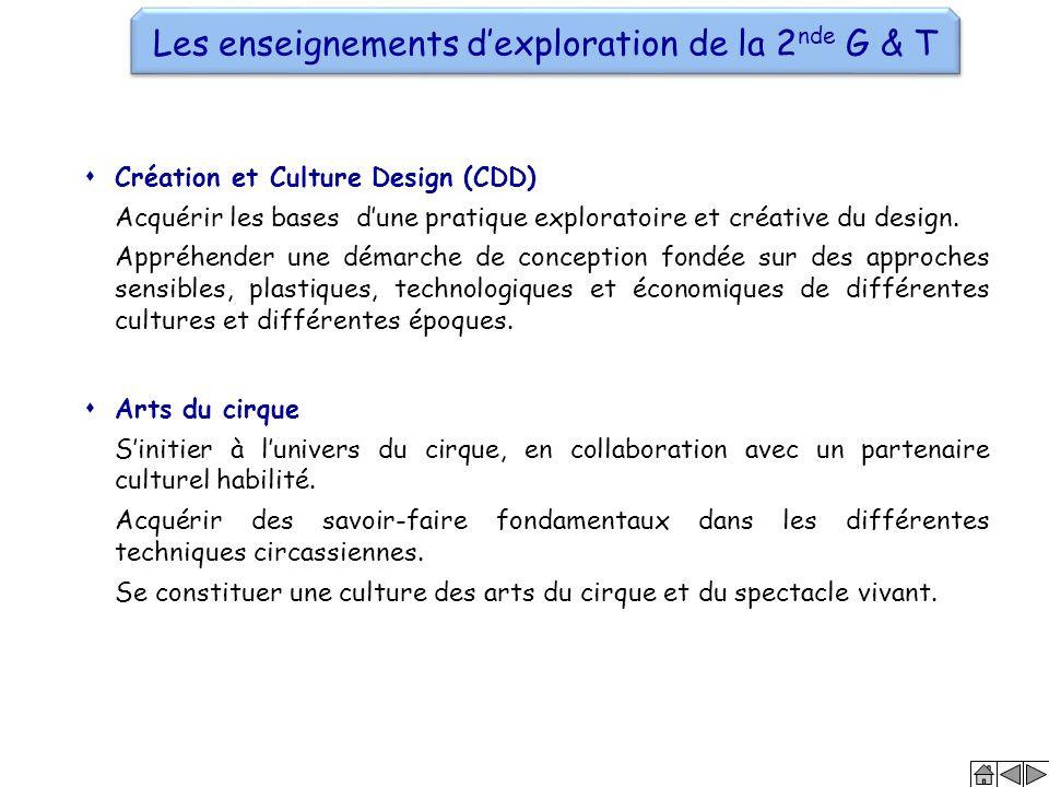 Les enseignements d'exploration de la 2 nde G & T  Arts du cirque S'initier à l'univers du cirque, en collaboration avec un partenaire culturel habil