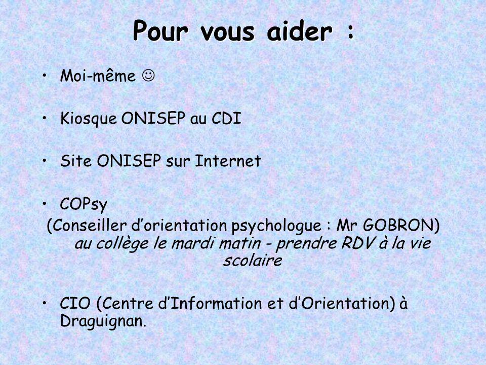 Pour vous aider : Moi-même Kiosque ONISEP au CDI Site ONISEP sur Internet COPsy (Conseiller d'orientation psychologue : Mr GOBRON) au collège le mardi
