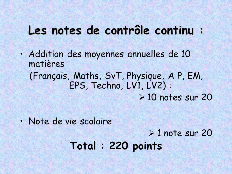 Les notes de contrôle continu : Addition des moyennes annuelles de 10 matières (Français, Maths, SvT, Physique, A P, EM, EPS, Techno, LV1, LV2) :  10