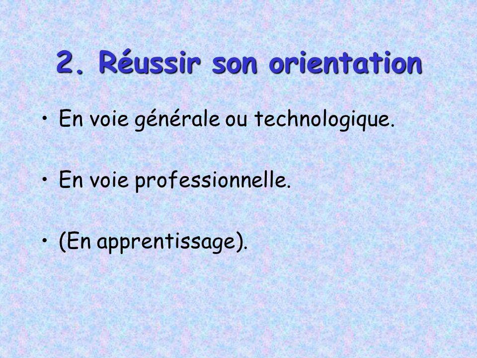 2. Réussir son orientation En voie générale ou technologique. En voie professionnelle. (En apprentissage).