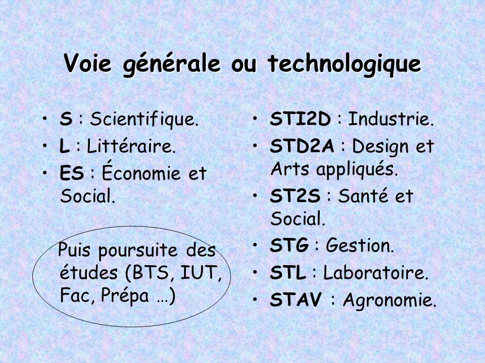 Voie générale ou technologique S : Scientifique. L : Littéraire. ES : Économie et Social. Puis poursuite des études (BTS, IUT, Fac, Prépa …) STI2D : I