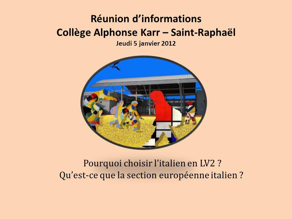 Réunion d'informations Collège Alphonse Karr – Saint-Raphaël Jeudi 5 janvier 2012 Pourquoi choisir l'italien en LV2 ? Qu'est-ce que la section europée
