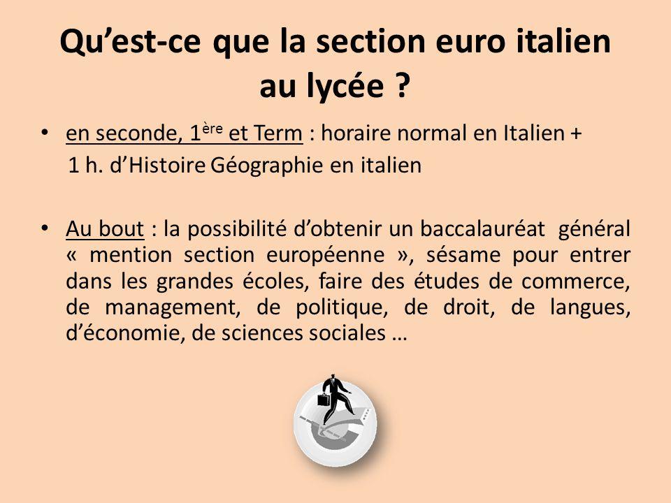 Qu'est-ce que la section euro italien au lycée ? en seconde, 1 ère et Term : horaire normal en Italien + 1 h. d'Histoire Géographie en italien Au bout