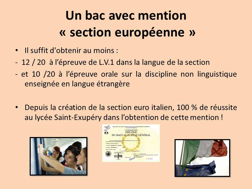 Un bac avec mention « section européenne » Il suffit d'obtenir au moins : - 12 / 20 à l'épreuve de L.V.1 dans la langue de la section - et 10 /20 à l'