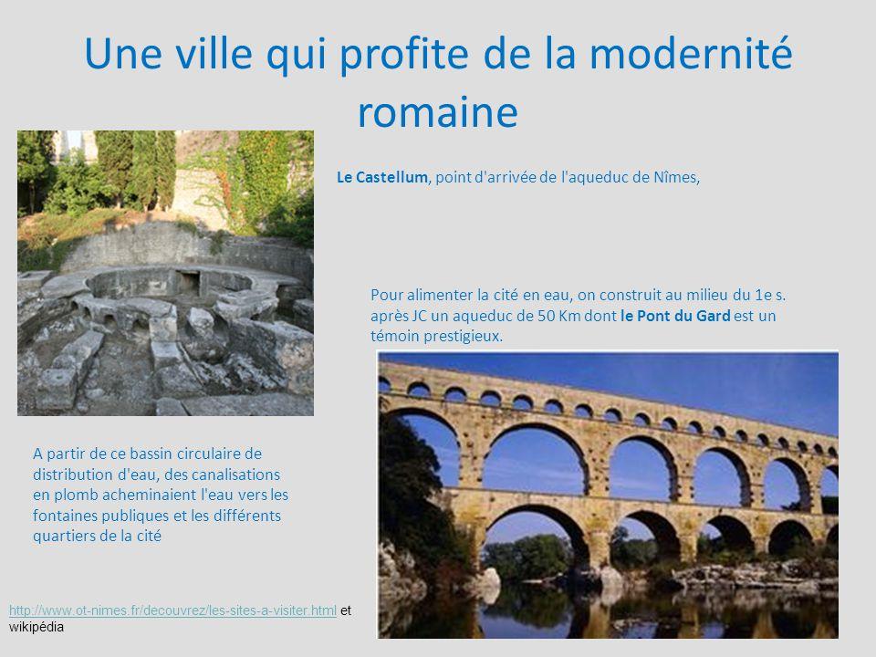 Une ville qui profite de la modernité romaine Le Castellum, point d'arrivée de l'aqueduc de Nîmes, Pour alimenter la cité en eau, on construit au mili