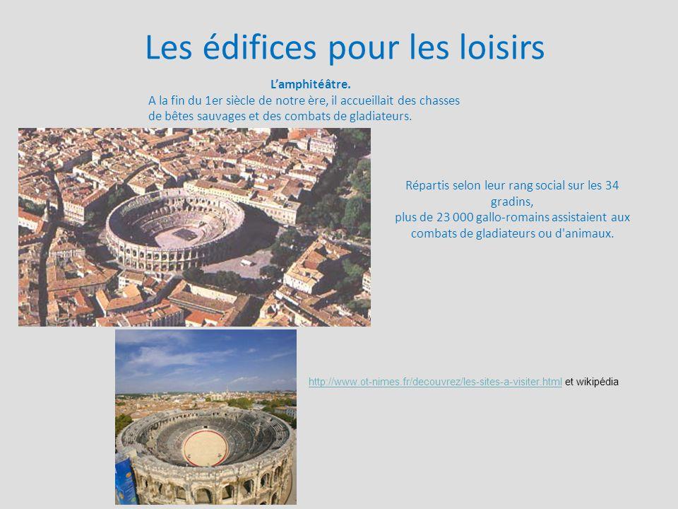 Les édifices pour les loisirs L'amphitéâtre. A la fin du 1er siècle de notre ère, il accueillait des chasses de bêtes sauvages et des combats de gladi