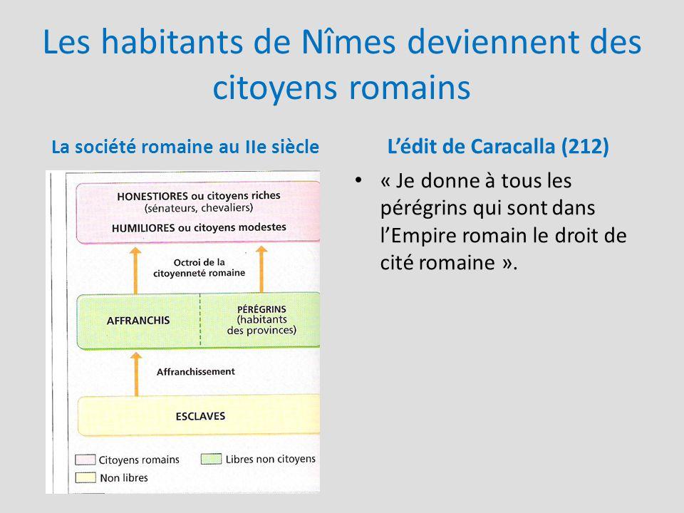 Les habitants de Nîmes deviennent des citoyens romains La société romaine au IIe siècle L'édit de Caracalla (212) « Je donne à tous les pérégrins qui