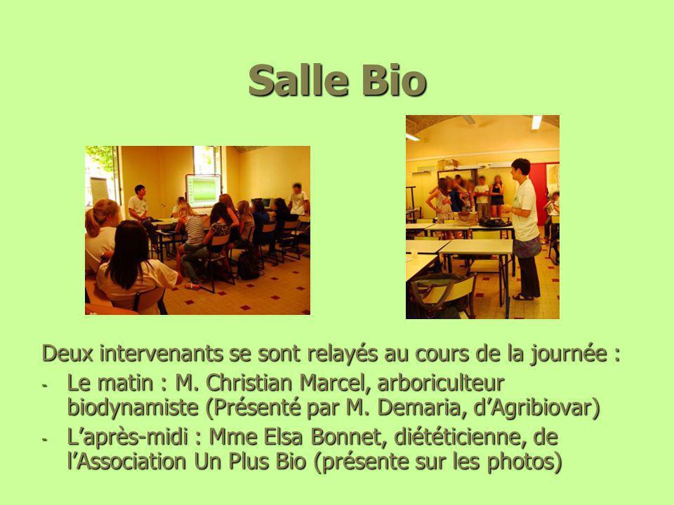 Salle Bio Deux intervenants se sont relayés au cours de la journée : - Le matin : M. Christian Marcel, arboriculteur biodynamiste (Présenté par M. Dem