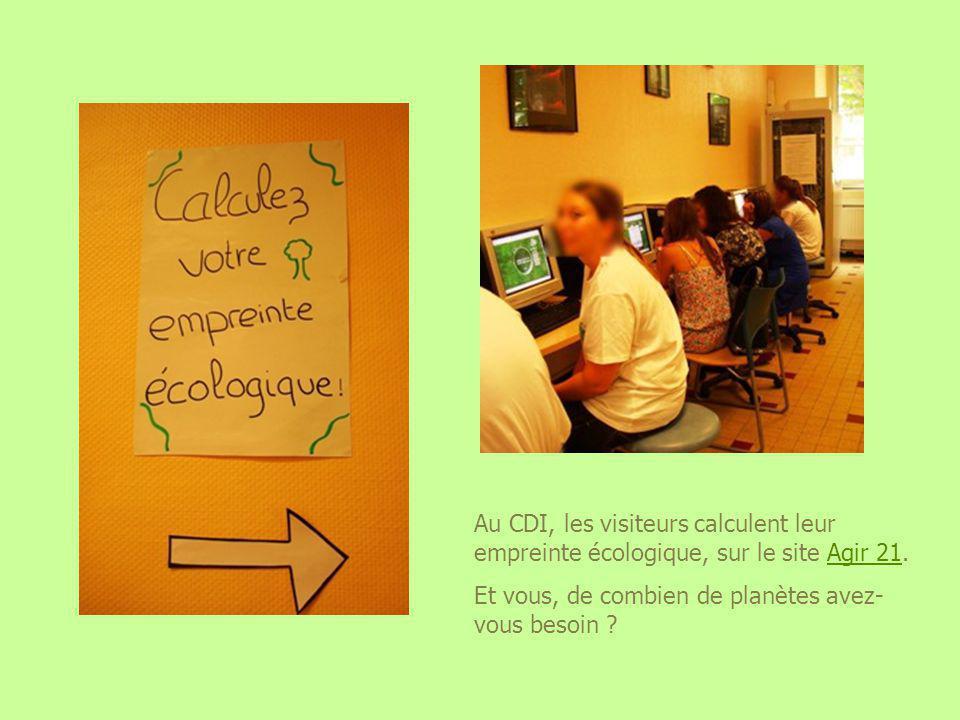 Au CDI, les visiteurs calculent leur empreinte écologique, sur le site Agir 21.Agir 21 Et vous, de combien de planètes avez- vous besoin ?