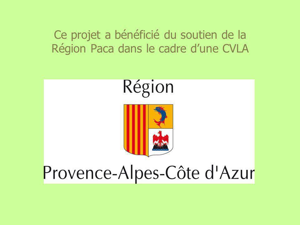 Ce projet a bénéficié du soutien de la Région Paca dans le cadre d'une CVLA