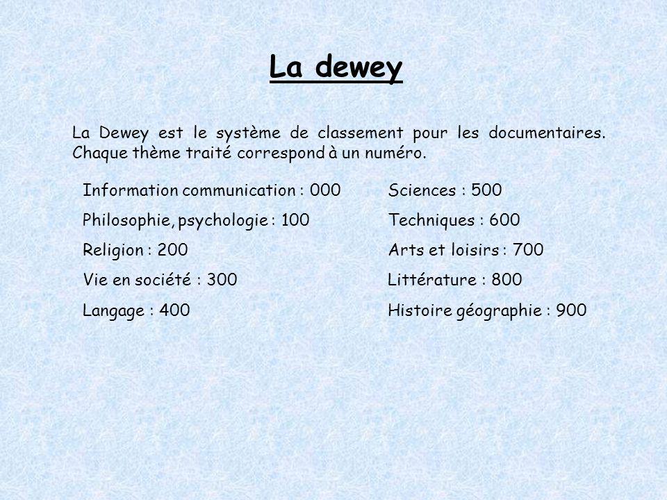 La dewey La Dewey est le système de classement pour les documentaires.
