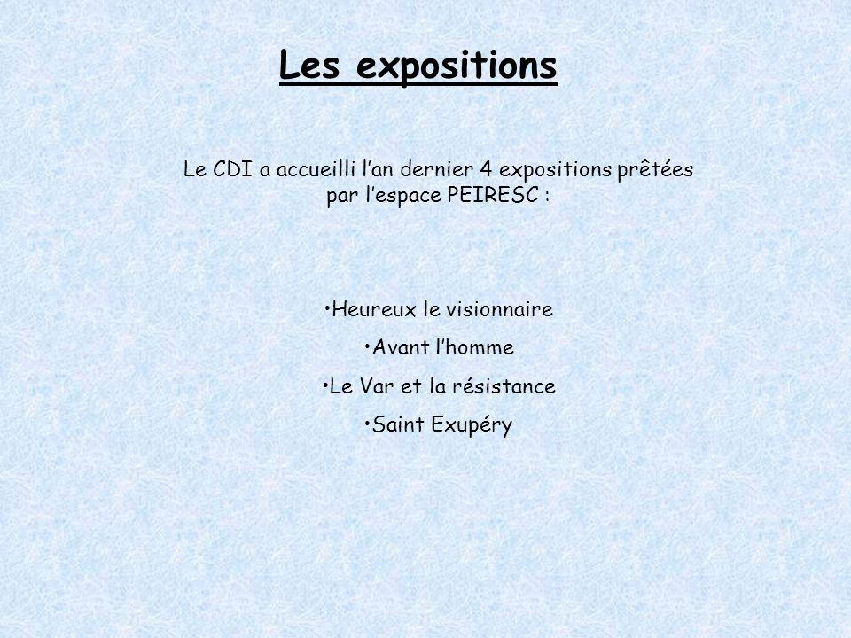 Les expositions Le CDI a accueilli l'an dernier 4 expositions prêtées par l'espace PEIRESC : Heureux le visionnaire Avant l'homme Le Var et la résistance Saint Exupéry