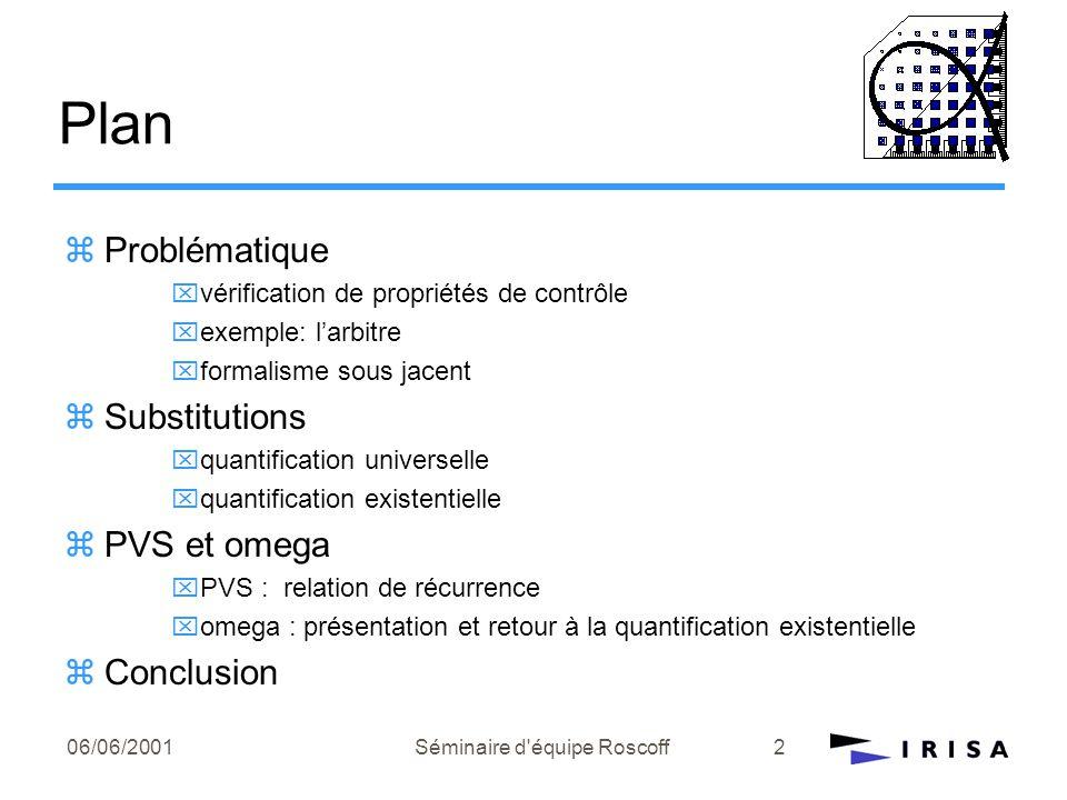 06/06/2001Séminaire d équipe Roscoff3 Vérification de propriétés de contrôle zPropriétés de contrôle: vivacité sûreté exclusion mutuelle … zLogique temporelle: quantificateurs temporels G  :  sera toujours vrai F  :  sera un jour vrai.